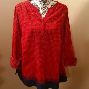 Lucy & Laurel Red Printed Blouse